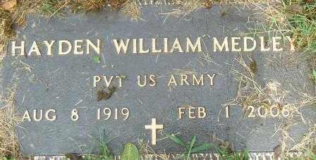 MEDLEY (VETERAN), HAYDEN WILLIAM - Independence County, Arkansas | HAYDEN WILLIAM MEDLEY (VETERAN) - Arkansas Gravestone Photos