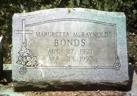 MCRAYNOLDS BONDS, MARGRETTA - Jackson County, Arkansas | MARGRETTA MCRAYNOLDS BONDS - Arkansas Gravestone Photos