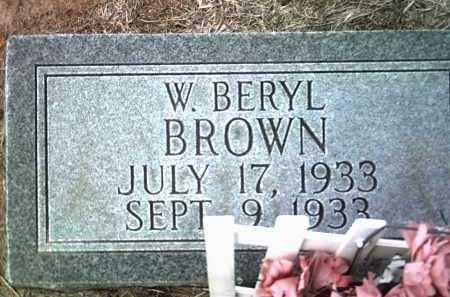 BROWN, W BERYL - Jackson County, Arkansas | W BERYL BROWN - Arkansas Gravestone Photos