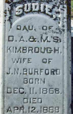 KIMBROUGH BURFORD, SUDIE - Jackson County, Arkansas | SUDIE KIMBROUGH BURFORD - Arkansas Gravestone Photos