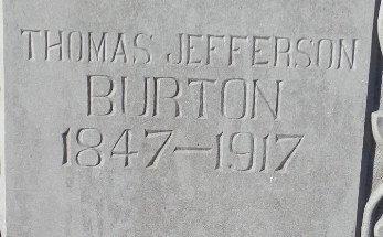 BURTON, THOMAS JEFFERSON (CLOSE UP) - Jackson County, Arkansas   THOMAS JEFFERSON (CLOSE UP) BURTON - Arkansas Gravestone Photos
