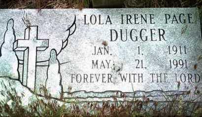 PAGE DUGGER, LOLA IRENE - Jackson County, Arkansas | LOLA IRENE PAGE DUGGER - Arkansas Gravestone Photos
