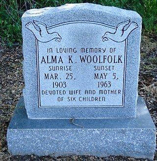 WOOLFOLK, ALMA K - Jefferson County, Arkansas | ALMA K WOOLFOLK - Arkansas Gravestone Photos