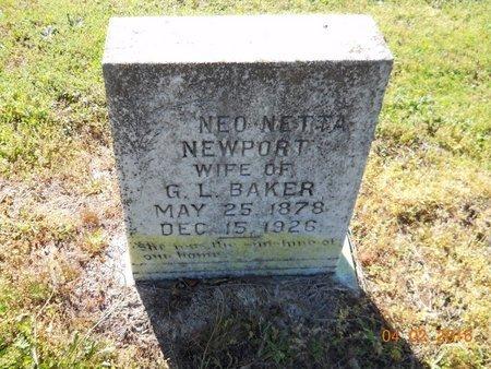 BAKER, NEO NETTA - Lafayette County, Arkansas | NEO NETTA BAKER - Arkansas Gravestone Photos