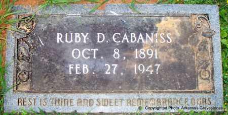 CABANISS, RUBY D - Lafayette County, Arkansas | RUBY D CABANISS - Arkansas Gravestone Photos