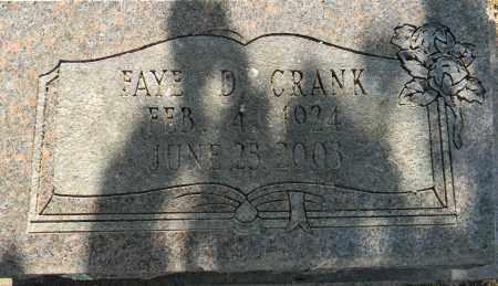 CRANK, FAYE D (CLOSEUP) - Lafayette County, Arkansas | FAYE D (CLOSEUP) CRANK - Arkansas Gravestone Photos