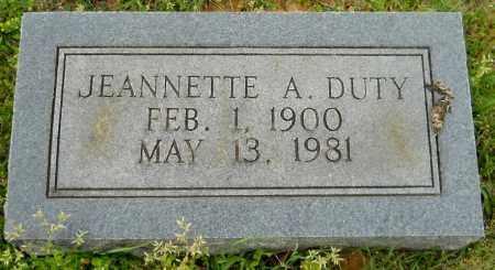 DUTY, JEANNETTE A - Lafayette County, Arkansas | JEANNETTE A DUTY - Arkansas Gravestone Photos