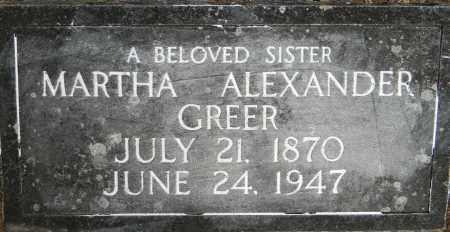ALEXANDER GREER, MARTHA - Lafayette County, Arkansas | MARTHA ALEXANDER GREER - Arkansas Gravestone Photos