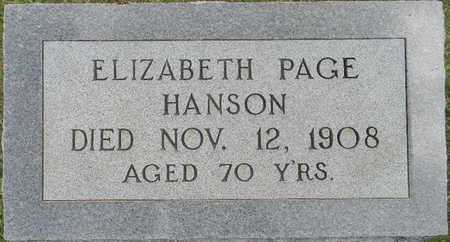PAGE HANSON, ELIZABETH - Lafayette County, Arkansas   ELIZABETH PAGE HANSON - Arkansas Gravestone Photos