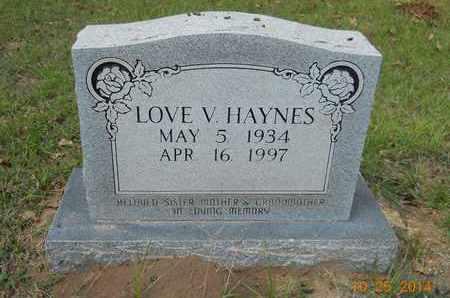 HAYNES, LOVE V - Lafayette County, Arkansas   LOVE V HAYNES - Arkansas Gravestone Photos
