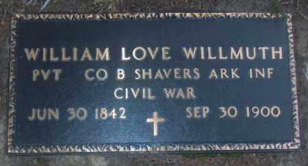 WILLMUTH  (VETERAN CSA), WILLIAM LOVE - Lawrence County, Arkansas | WILLIAM LOVE WILLMUTH  (VETERAN CSA) - Arkansas Gravestone Photos