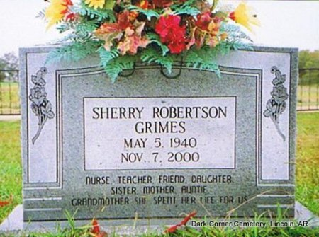 ROBERTSON GRIMES, SHERRY TALMADGE - Lincoln County, Arkansas | SHERRY TALMADGE ROBERTSON GRIMES - Arkansas Gravestone Photos