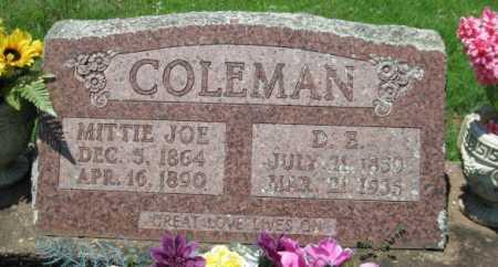 COLEMAN, MITTIE JOE - Logan County, Arkansas | MITTIE JOE COLEMAN - Arkansas Gravestone Photos