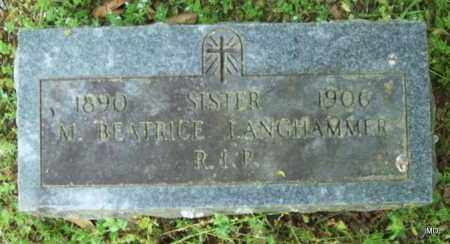 LANGHAMMER, SISTER M BEATRICE - Logan County, Arkansas | SISTER M BEATRICE LANGHAMMER - Arkansas Gravestone Photos