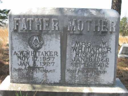 WHITAKER, A W - Logan County, Arkansas | A W WHITAKER - Arkansas Gravestone Photos