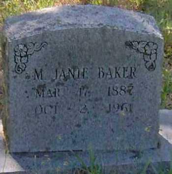 BAKER, M JANIE - Madison County, Arkansas | M JANIE BAKER - Arkansas Gravestone Photos