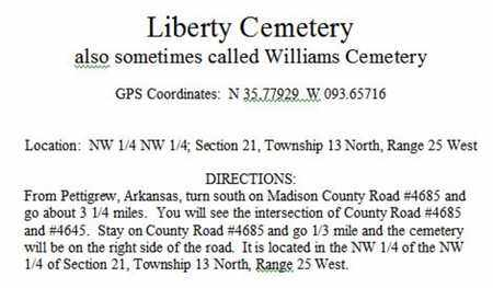 DIRECTIONS TO LIBERTY CEMETERY, . - Madison County, Arkansas | . DIRECTIONS TO LIBERTY CEMETERY - Arkansas Gravestone Photos