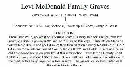 *LEVI MCDOANAL FAMILY GRAVES D,  - Madison County, Arkansas |  *LEVI MCDOANAL FAMILY GRAVES D - Arkansas Gravestone Photos