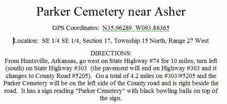 *PARKER CEMETERY DIRECTIONS,  - Madison County, Arkansas    *PARKER CEMETERY DIRECTIONS - Arkansas Gravestone Photos