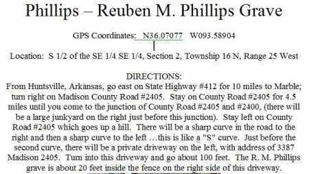 *PHILLIPS-REUBEN M PHILLIPS GR,  - Madison County, Arkansas    *PHILLIPS-REUBEN M PHILLIPS GR - Arkansas Gravestone Photos