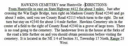 DIRECTIONS TO, HAWKINS CEMETERY - Madison County, Arkansas | HAWKINS CEMETERY DIRECTIONS TO - Arkansas Gravestone Photos