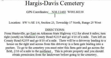 DIRECTIONS TO, HARGIS-DAVIS CEMETERY - Madison County, Arkansas   HARGIS-DAVIS CEMETERY DIRECTIONS TO - Arkansas Gravestone Photos