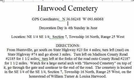 DIRECTIONS TO, HARWOOD CEMETERY - Madison County, Arkansas | HARWOOD CEMETERY DIRECTIONS TO - Arkansas Gravestone Photos