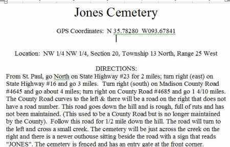 DIRECTIONS TO, JONES CEMETERY - Madison County, Arkansas   JONES CEMETERY DIRECTIONS TO - Arkansas Gravestone Photos