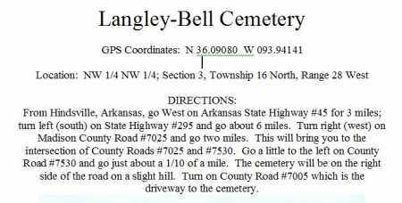 DIRECTIONS TO, LANGLEY-BELL CEMETERY - Madison County, Arkansas   LANGLEY-BELL CEMETERY DIRECTIONS TO - Arkansas Gravestone Photos