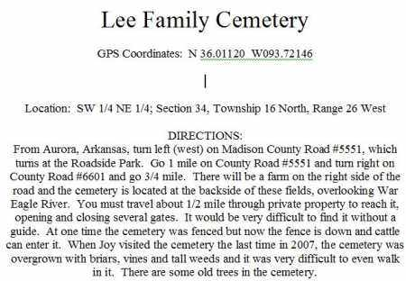 *LEE CEMETERY DIRECTIONS, LEE CEMETERY - Madison County, Arkansas | LEE CEMETERY *LEE CEMETERY DIRECTIONS - Arkansas Gravestone Photos