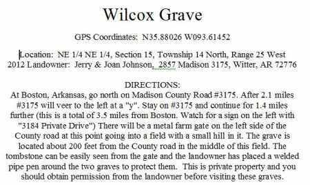DIRECTIONS TO, NANCY WILCOX GRAVE - Madison County, Arkansas   NANCY WILCOX GRAVE DIRECTIONS TO - Arkansas Gravestone Photos