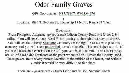 *ODOR FAMILY GRAVES DIRECTIONS,  - Madison County, Arkansas |  *ODOR FAMILY GRAVES DIRECTIONS - Arkansas Gravestone Photos