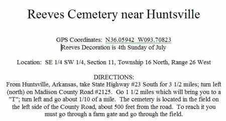 DIRECTIONS TO, REEVES CEMETERY - Madison County, Arkansas | REEVES CEMETERY DIRECTIONS TO - Arkansas Gravestone Photos