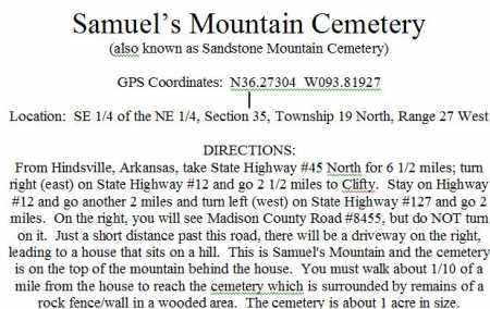 DIRECTIONS TO, SAMUELS MT. CEMETERY - Madison County, Arkansas | SAMUELS MT. CEMETERY DIRECTIONS TO - Arkansas Gravestone Photos