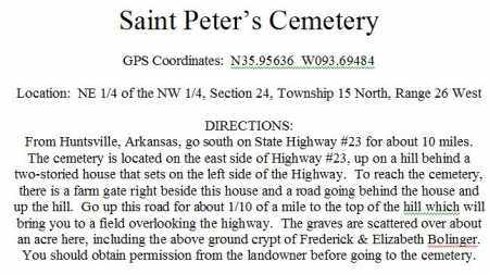 *DIRECTIONS TO ST PETERS CEMET, . - Madison County, Arkansas   . *DIRECTIONS TO ST PETERS CEMET - Arkansas Gravestone Photos