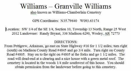 DIRECTIONS TO, WILLIAMS - CHAMBERLAIN CEMETERY - Madison County, Arkansas | WILLIAMS - CHAMBERLAIN CEMETERY DIRECTIONS TO - Arkansas Gravestone Photos