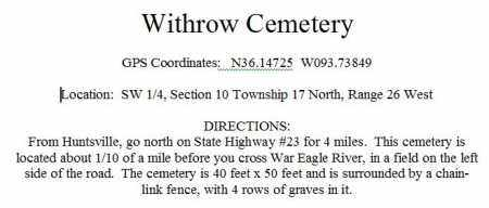 DIRECTIONS TO, WITHROW CEMETERY - Madison County, Arkansas   WITHROW CEMETERY DIRECTIONS TO - Arkansas Gravestone Photos