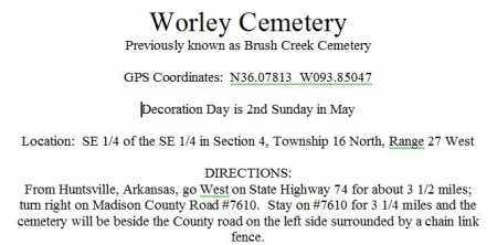 DIRECTIONS TO, WORLEY CEMETERY - Madison County, Arkansas | WORLEY CEMETERY DIRECTIONS TO - Arkansas Gravestone Photos