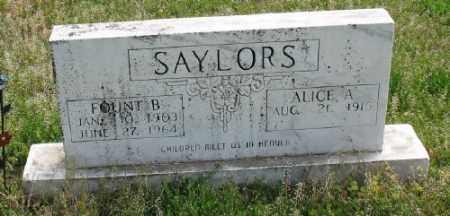SAYLORS, ALICE A. - Marion County, Arkansas   ALICE A. SAYLORS - Arkansas Gravestone Photos