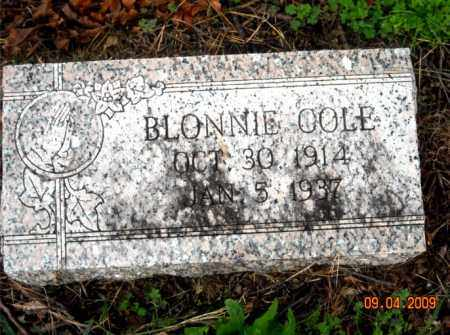COLE, BLONNIE - Mississippi County, Arkansas | BLONNIE COLE - Arkansas Gravestone Photos
