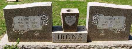 IRONS, GEORGE A - Montgomery County, Arkansas | GEORGE A IRONS - Arkansas Gravestone Photos
