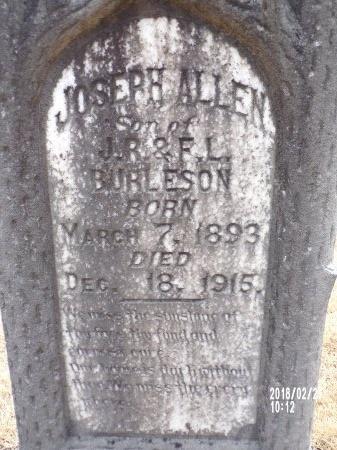 BURLESON, JOSEPH ALLEN (CLOSE UP) - Ouachita County, Arkansas | JOSEPH ALLEN (CLOSE UP) BURLESON - Arkansas Gravestone Photos