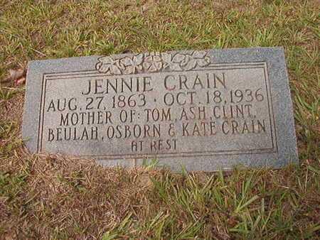 "HODGE CRAIN, ANNIE VIRGINIA ""JENNIE"" - Ouachita County, Arkansas | ANNIE VIRGINIA ""JENNIE"" HODGE CRAIN - Arkansas Gravestone Photos"