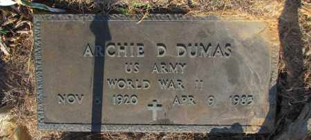 DUMAS (VETERAN WWII), ARCHIE D - Perry County, Arkansas | ARCHIE D DUMAS (VETERAN WWII) - Arkansas Gravestone Photos