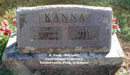 KANNA, KATHERINE - Polk County, Arkansas | KATHERINE KANNA - Arkansas Gravestone Photos