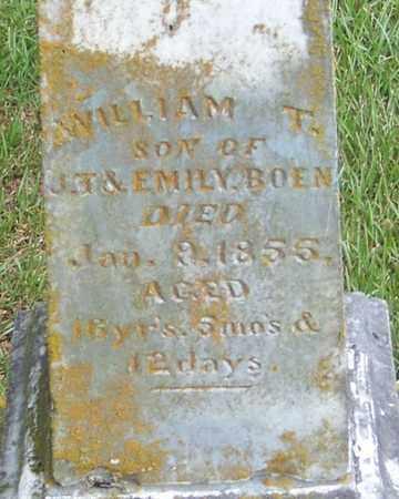 BOEN, WILLIAM T (CLOSE UP) - Pope County, Arkansas | WILLIAM T (CLOSE UP) BOEN - Arkansas Gravestone Photos