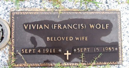 FRANCIS WOLF, VIVIAN - Pope County, Arkansas | VIVIAN FRANCIS WOLF - Arkansas Gravestone Photos