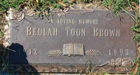 BROWN, BEULAH TOON - Randolph County, Arkansas | BEULAH TOON BROWN - Arkansas Gravestone Photos