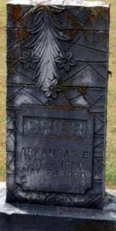 GRIER, ARKANSAS E - Randolph County, Arkansas   ARKANSAS E GRIER - Arkansas Gravestone Photos