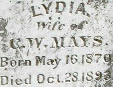 MAYS, LYDIA (CLOSE UP) - Randolph County, Arkansas | LYDIA (CLOSE UP) MAYS - Arkansas Gravestone Photos